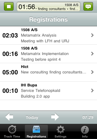 TimeLog iPhone App - Registreringer
