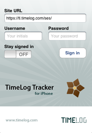 TimeLog iPhone app - Login