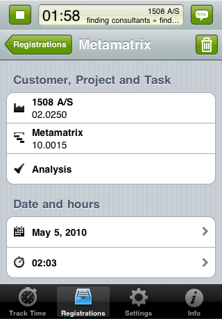 TimeLog iPhone app - Rediger registrering