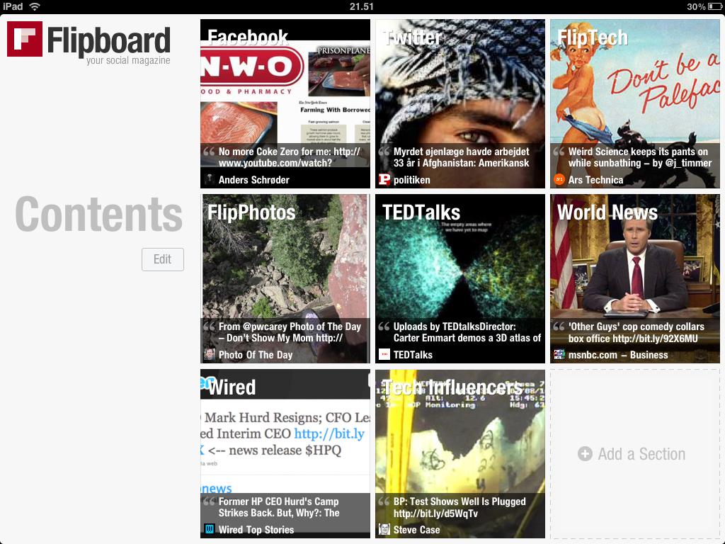 Vælg indhold i Flipboard